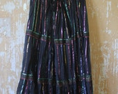 vintage. Indian Gauze Black  Mid Full Skirt with Metallic Thread details  / India / Rare Gypsy Boho // One Size fits All