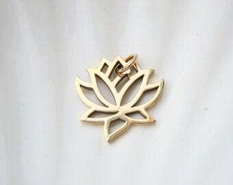 Gold Lotus Charm - Jewelers Bronze - Add On - Yoga Inspired