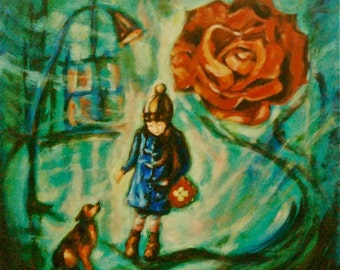Untitled 1 -Little Girl w Dog n Rose Art Print, Whimsical Painting, Surreal, Night City, Lamppost, Light, Green, Mood, Child, Lonely, Symbol