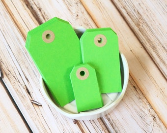 LIME Green Reinforced Luggage Tags