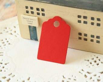 Mini Scarlet RED Scallop Swing Tags