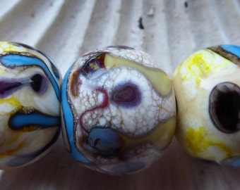 Destash Lampwork bead tribal rounds set