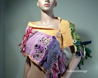 CAPLET/SCARF/SHOULDERETTE - Wearable Fiber Art, Fashionable & Versatile, Freeform Crocheted, Italian Top Quality Yarn
