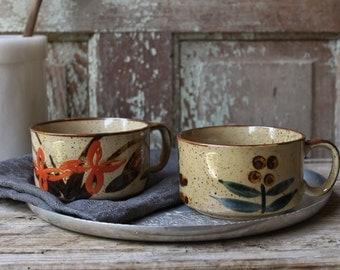set of 2 vintage japanese soup mugs