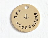 Personalized Nautical Wedding Boutonniere Charm in Brass Ring Bearer Pillow Charm, Bridal Shower Gift