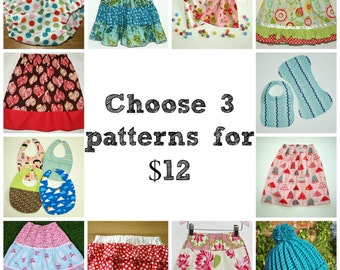 Skirt patterns, Sewing pattern, Bloomer pattern, Toddler skirt pattern, Easy skirt pattern - 3 patterns of your choice