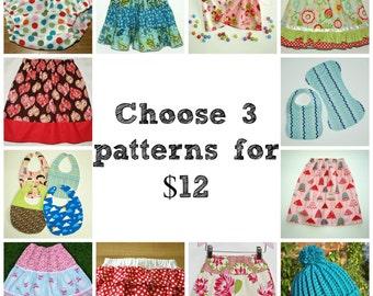 Twirl skirt pattern, Sewing pattern, Bloomer pattern, Toddler skirt pattern, Easy skirt pattern, Hat pattern - 3 patterns of your choice