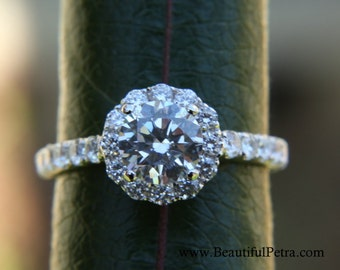14k CUSTOM Made - Diamond Engagement Ring  Semi Mount Setting- .61carat  Round - Flower Halo - Pave - Antique Style - Bp0014