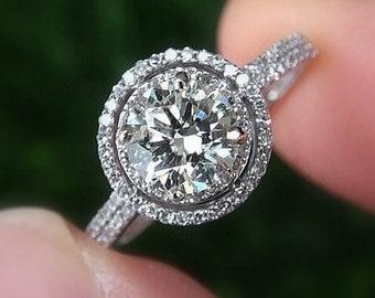diamond engagement ring 14k white gold 125 carat round double halo pave - Antique Wedding Ring