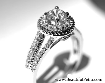 Split Shank -  Halo - Pave - Twisted - Rope - Heart - Antique Style - Diamond Engagement Ring 14K - Wedding - Bph026