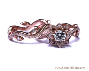 BLOOMING Work Of Art - Flower Rose  Lotus Diamond Engagement Wedding Ring Set - 14K - brides - fL07 Beautiful Petra Patented design