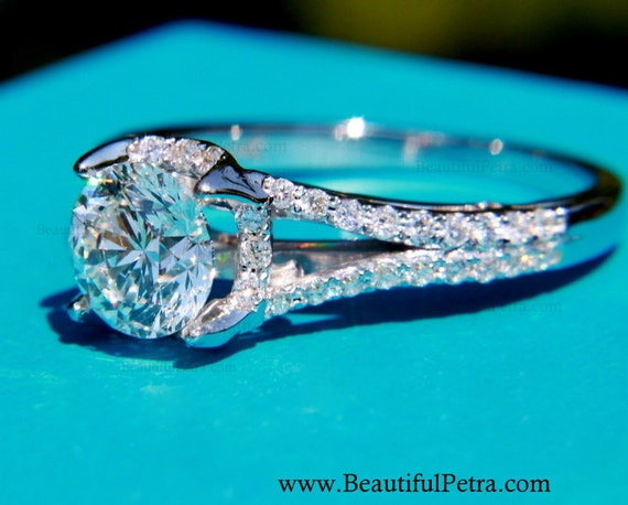 CUSTOM Made - 1.25 ct  Round - Split Shank-  Halo - Pave - Antique Style - Diamond Engagement Ring 14K white gold - Weddings- Brides # Bp001