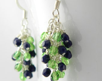 Bright Green and Navy Blue Dangle Earrings with Sterling or Steel Ear Wires