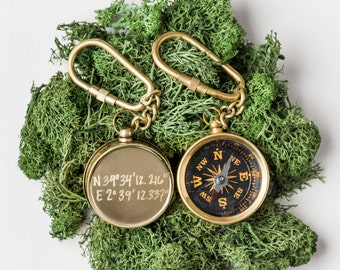 Hand Engraved Small Gold Brass Compass Keychain...Customized with Your Engraving for Free