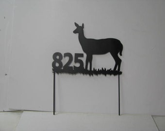 Deer Doe 155  Two Lines Metal Yard Address Sign with Stakes