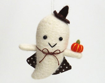 Halloween ghost : needle felted boo ghost ornament - felt orange pumpkin, witch hat and brown cape with dots
