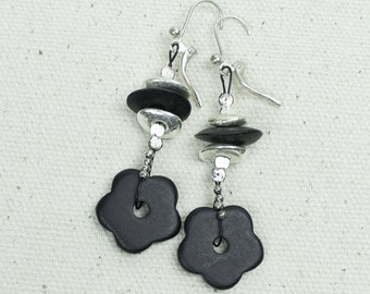Black Flower Earrings, Boho Jewelry, Black Beaded Earrings, Boho Flower Earrings, Woodland Earring Ceramic Modern Summer beach jewelry