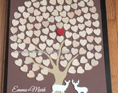Wedding guest book  Alternative Custom wedding 3D guest Book wood rustic Unique Heart Guestbook 16 x 20   Shadow Box Included 135 hearts