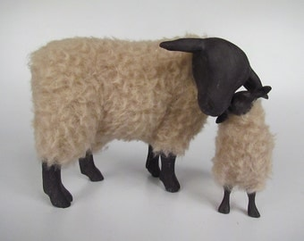 Suffolk Sheep Figurine  Tall Cheek to Cheek With Lamb
