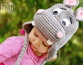 PATTERN Happy Hippo the Hippopotamus Hat Crochet PDF Pattern