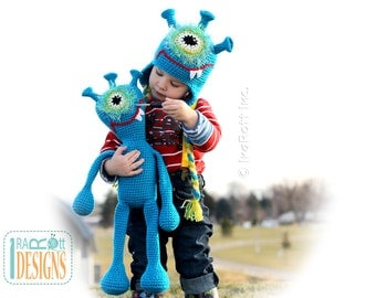 Plutonian Paul Alien Monster Hat and Toy Set Crochet Pattern PDF