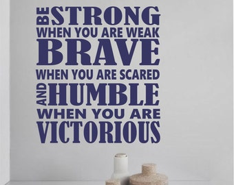 Vinyl Wall Lettering Subway Style Be Strong Brave Humble Religious Sport Quotes Decals