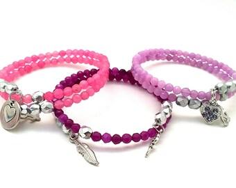 Simple Bracelet - Cute Gifts for Friends - Everyday Bracelets - Best Friend Gift Ideas - Blue Beaded Bracelet - Purple Bracelet - Pink Gifts