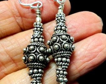 Sterling Silver Bali Bead Earrings