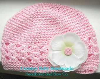 Pink Baby Hat with Cream Flower...Toddler Hat...Girls Hat...Pink Baby Hat...Pink Flower Baby Hat