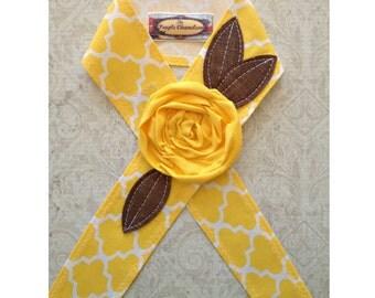 Yellow Quatrefoil Headwrap Head Wrap Lemon Yellow Headband Sash Headcover Tie on Headband Tie Headwrap Gifts for Her