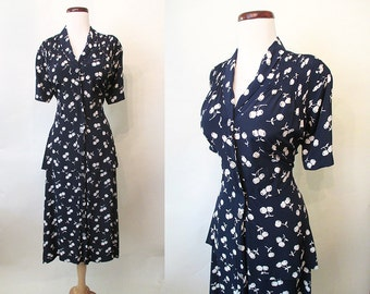 "Cute As Can Be 1940's XXL Rayon Novelty Print Dress w/ Cherries by ""Mode O'Day"" Old Hollywood Glamour Pinup VLV Rockabilly Size-XX-Large"