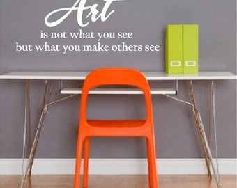 Art Is Not What You See....Inspirational Artist  Wall Quotes Sayings Words Removable Artist Wall Decal Lettering