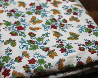 """Vintage Cotton Fabric 1950's Butterfly cotton fabric retro red gold small butterfly print cotton quilting fabric dress fabric 36"""" wide 1.5yd"""