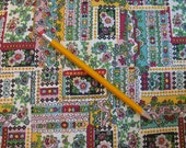 """Vintage 1970s 44"""" wide Small Print Fabric - Patchwork Pattern - Englebreit Styling - By the 1/2 Yard"""