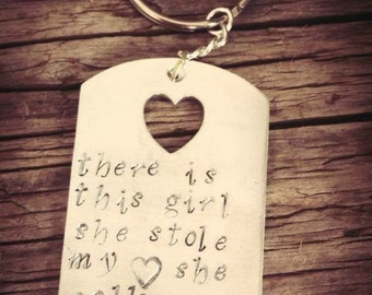 Keychain for Dad Stamped with the words 'there is this girl she stole my heart she calls me daddy', Gift from Daughter, For New Dad, UK Made