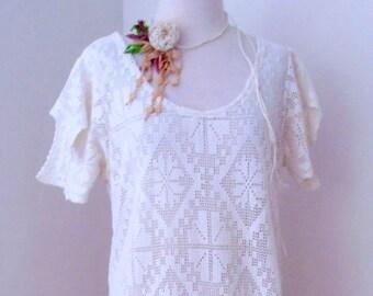 Vintage Crochet Lace Dress. Recycled Vintage Lace Dress. Cotton Lace Dress. Woodland Wedding