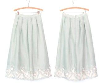 Embroidered Linen Skirt * Vintage 80s Skirt * Mint Lace Garden Skirt * Medium