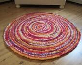 Red Crocheted Rag Rug, Crocheted Rag Rug, Home and Living, Rag Rug, Handmade Rug, Rug,Floor and Rugs, OOAK, Handmade Crocheted Rag Rug