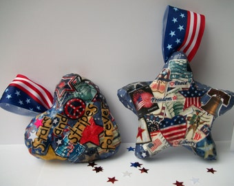 Decoupaged Patriotic Paper Mache Heart and Star Set of Two One of a Kind