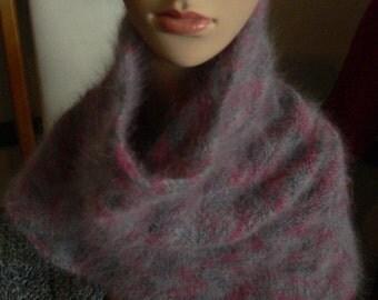 Pink and Grey Angora Cowl