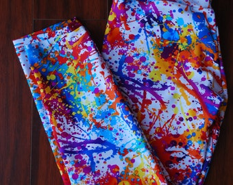 Splatter paint print leggings yoga pants with WIDE waistband size small