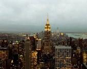 New York City Print, Manhattan Skyline, Gold, Teal, Gray, Urban, Travel, New York Photography