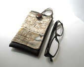 Nautical map glasses case with lanyard - faux leather eyeglasses holder - spectacles eyewear cover with pocket