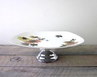 Vintage Mid Century Modern Daisy Flower Cake Plate Cake Stand Midwinter Stylecraft