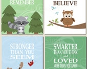 Baby Boy Nursery Decor Forest Animals Kids Wall Art Neutral Shared Space Girl Boy Promise Me You'll Always Remember Set of 4 Art Prints