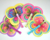 Butterfly Party Fan Supplies 4 Paper Fan Favors Hand Fan Decor Folding Fan Decoration Asian Fan Party Supplies Party Favors Party Decoration