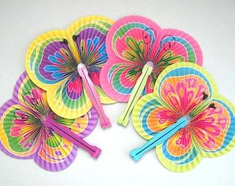 Butterfly Party Fan Supplies 4 Paper Fan Favors Hand Fan Decor Folding Fan Decoration Asian Fan Party Supplies Party Favors Party Decoration
