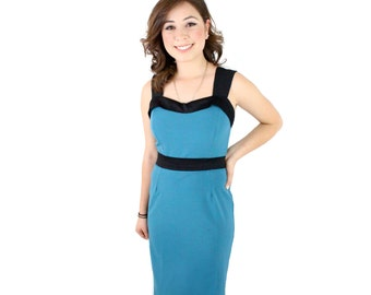 On Sale! Closeout Sale  Pinup Teal Wiggle Dress