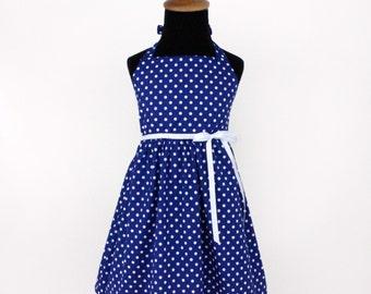Vintage Inspired Blue Polka Dot Girl's Dress