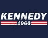 Kennedy 1960 T-Shirt Tee - John F. Kennedy, JFK - Men's, Women's Ladies, Short, Long Sleeve, Youth Kids (Flag Stripes)